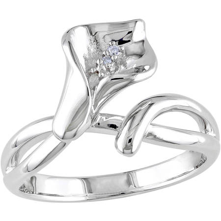 Diamond-Accent Sterling Silver Calla Lily Flower Ring ()