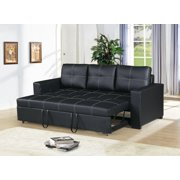 Modern Convertible Sofa Black Faux Leather Square Shape Stitching Sofa w Pull Out Bed Comfort Couch Living Room