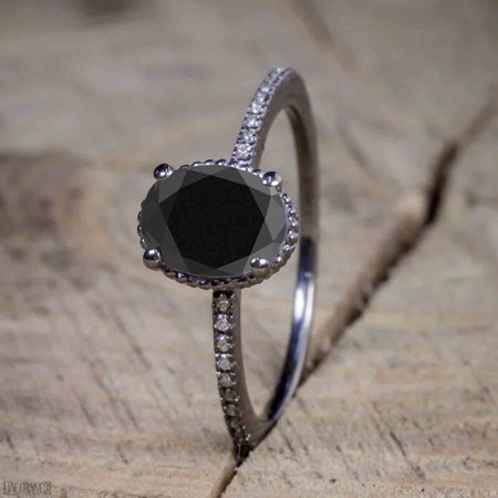 Beautiful 1 Carat Oval cut Moissanite Solitaire Engagement Ring for Women in Black Gold (Black Lantern Ring)