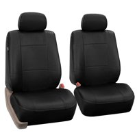 FH Group Black Faux Leather Airbag Compatible Car Seat Covers, 2 Pack