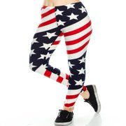 TD Collections Women's American US Star Country Flag Legging Blue Red White