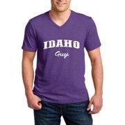 J_H_I ID Guy Idaho Flag Boise Yellowstone Map Home of Vandals University of Idaho Men V-Neck Shirts Ringspun