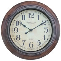 "Better Homes & Gardens 8.88"" Rustic Wood Clock"