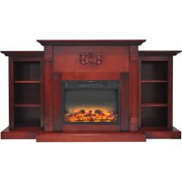 "Cambridge Sanoma Electric Fireplace Heater with 72"" Bookshelf Mantel plus Enhanced Log and Grate Display"