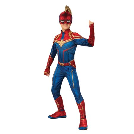 Halloween Avengers Captain Marvel Hero Suit Child Costume (Blue Morph Suits)
