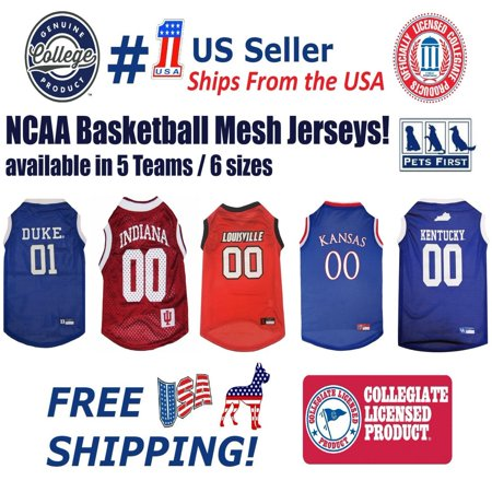 Pets First Collegiate Kansas Jayhawks Basketball Mesh Jersey - Licensed, Brand NEW, 5 Collegiate Teams in 6 sizes