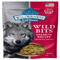 (2 pack) Blue Buffalo Wilderness Trail Treats Wild Bits Grain Free Soft-Moist Training Dog Treats, Salmon Recipe, 4-oz bag