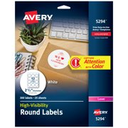 Avery White High-Visibility Labels, 2-1/2