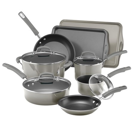 Rachael Ray Porcelain Enamel Non-Stick Sea Salt Gray Cookware Set, 12