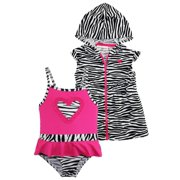 1bb6d90667 Wippette Baby Girls Zebra Heart One Piece Swimsuit Beach Terry Cover Up Set