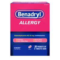 Benadryl Ultratabs Go Packs, Antihistamine Tablets, 60 packets of 2 tablets, 2 boxes