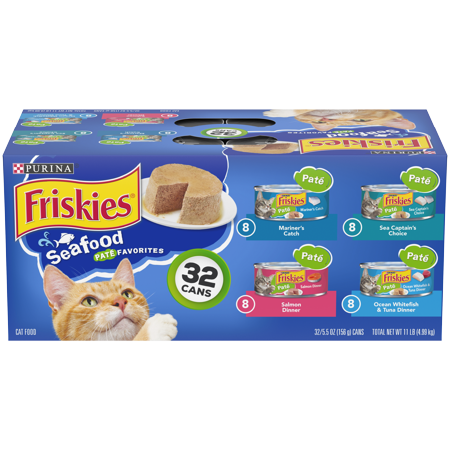 Friskies Pate Wet Cat Food Variety Pack, Seafood Favorites - (32) 5.5 oz. (Best Rated Canned Cat Food)