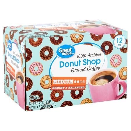 Great Value 100% Arabica Donut Shop Coffee Pods, Medium Roast, 12 Count