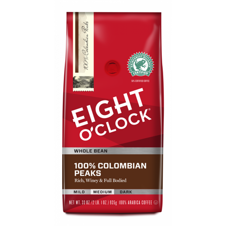Eight O'Clock 100% Colombian Peaks Whole Bean Coffee 33 Oz. (Best Colombian Coffee Beans)