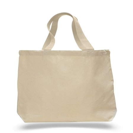 Contrast Straw Tote - (12 Pack) Set of 12 Cotton Canvas Gusset and Contrasting Handles Tote Bag (Natural)