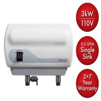 Atmor 3kW/110V Single Sink 0.5 GPM Electric Tankless Water Heater with Pressure Relief Device and 0.5 GPM Aerator
