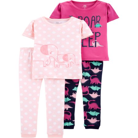 Child of Mine by Carter's Short sleeve cotton tight fit pajamas, 4pc set (toddler - Girls Pajama Sale