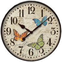 "32897BF 12"" BUTTERFLY DIAL WALL CLOCK"