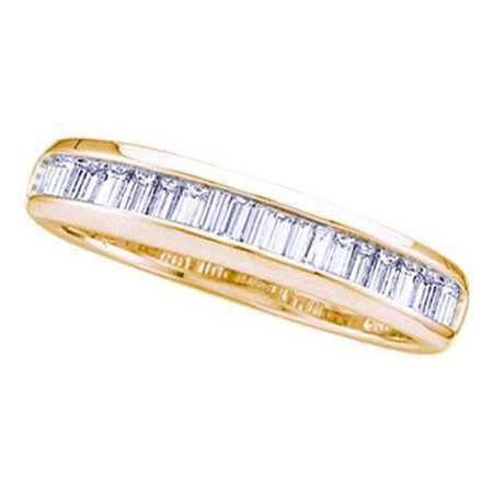 14kt Yellow Gold Womens Baguette Diamond Wedding Anniversary Band Ring 1/6 Cttw 14k Gold Diamond Wedding Ring