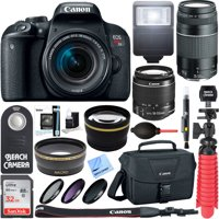 Canon EOS Rebel T7i DSLR Camera (1894C002) + 18-55mm IS STM & 75-300mm III Lens Kit + Accessory Bundle 32GB SDHC Memory + DSLR Photo Bag + Wide Angle Lens + 2x Telephoto Lens + Flash + Remote + Tripo