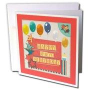 3dRose 88th Birthday Balloons Cupcake Stars Block Letter Orange Green