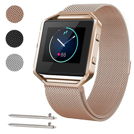 All American Wristbands (Large Size Stainless Steel Magnetic Milanese Replacement Wrist Band Loop Strap w/ Frame for Fitbit Blaze Smart Watch)