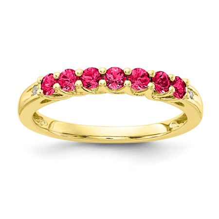 10k Yellow Gold Diamond Ruby - 10K Yellow Gold Created Ruby Birthstone Band w/ Diamonds