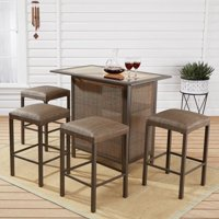 Mainstays Daine Park 5-Piece Patio Sling Bar Stool and Table Set