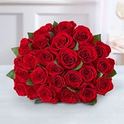 Mother's Day Fresh Flowers - Two Dozen Red Roses Bouquet Only
