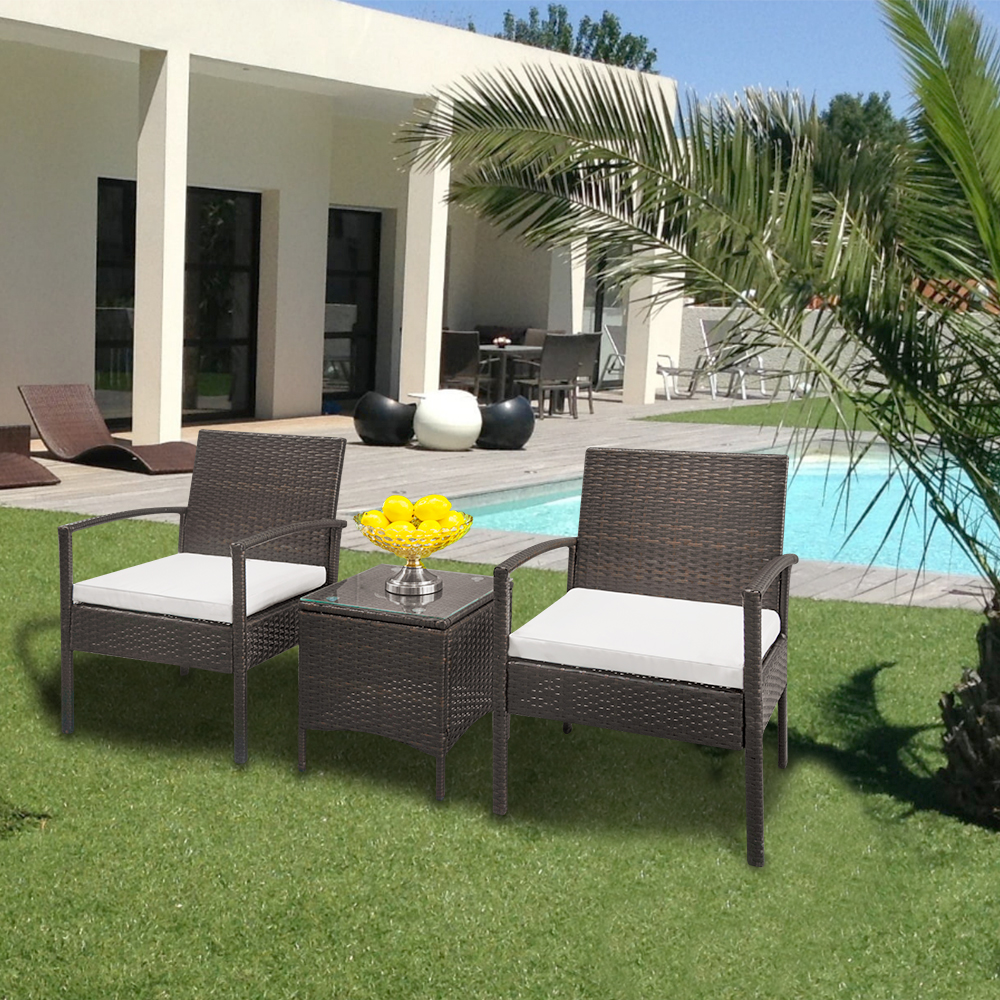 Zimtown 3PC Outdoor Patio Garden Wicker Furniture Rattan Sofa Set With  Cushions