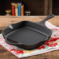 """The Pioneer Woman Timeless Pre-Seasoned Plus Cast Iron 10.25"""" Square Grill Pan"""