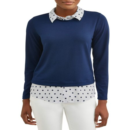Women's 2fer Sweater with Built-In Collared Shirt ()