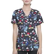 """Scrubstar Disney's Mickey """"Started With A Mouse"""" Women's Mock Wrap Printed Scrub Top"""