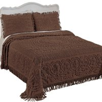 Calista Chenille Lightweight Bedspread with Fringe Border, Twin, Chocolate