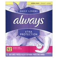 Always Xtra Protection Daily Liners, 92 Count, Extra Long