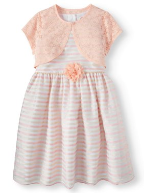Girls' Novelty Stripe Easter Dress and Lace Shrug, 2-Piece Set