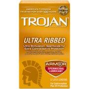 Trojan Stimulations Ultra Ribbed Spermicidal Condoms, 12ct