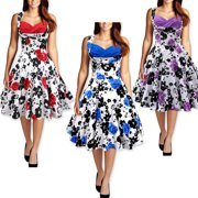 Sexy Dance Vintage Swing Dresses Women Floral Printed 1950s Rock Swing Pinup Retro Cocktail Party Prom