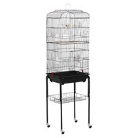"62"" Yaheetech Rolling Bird Cage w/ Black Stand & Perch for Parrot & Finch"