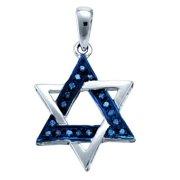 10K White Gold 0.10CT Bead & Bright Cut Blue Diamond Israel Star Pendant