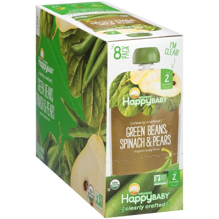 Happy Baby Organics Clearly Crafted Green Beans, Spinach & Pears Organic Baby Food 4 oz. Pouches, 8 -