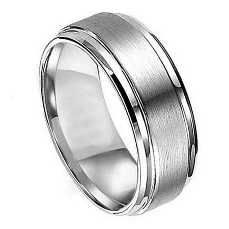 8mm Titanium Flat Brushed Center Polished Shiny Edge Wedding Band Ring For Men Or (8 Mm Brush Band)