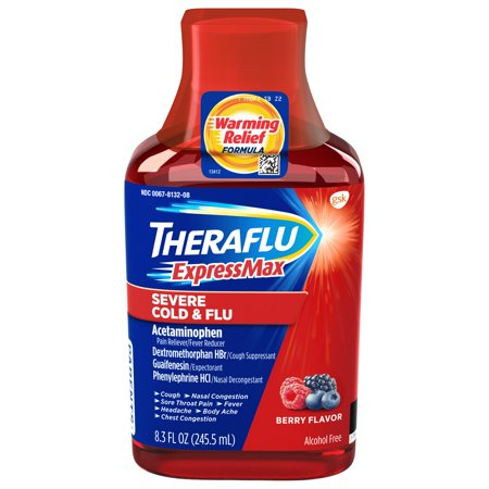 - Theraflu ExpressMax Severe Cold & Flu Berry Warming Relief Formula Syrup for Cold & Flu Relief, 8.3 oz