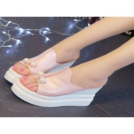 Fashion Women High Heel Sandals Pearls Slippers Wedge Open Toe Platform Shoes - Slipper Heels Shoes