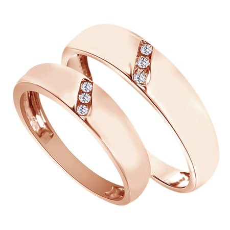 White Natural Diamond His And Hers Wedding Band Ring Set in 14K Rose Gold (0.1 Cttw) Diamond Wedding 14k Ring