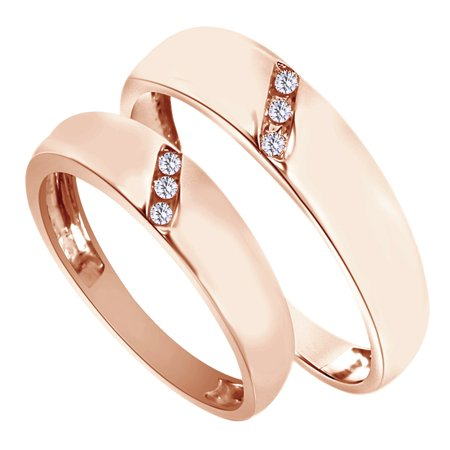 White Natural Diamond His And Hers Wedding Band Ring Set in 14K Rose Gold (0.1