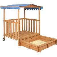 Best Choice Products Kids Outdoor Retractable Playhouse Fort w/ Sandbox, Large Cover - Brown/Blue
