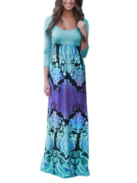 Fashion Floral Print High Waist 3/4 Sleeve Long Maxi Dresses for Women