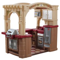 Step2 Grand Walk-In Kitchen & Grill Play Kitchen with 103-piece Play Food Accessory Set