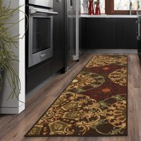 Ottomanson Ottohome Collection Contemporary Damask Design Non-Slip Rubber Backing Area or Runner Rug